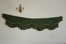 Long Pelmet or Valance Antique Bedroom 1880 Striped GREEN & GOLD wood core trim