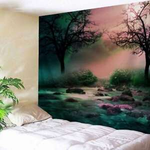Magic Forest Tapestry Creek Evening Scenery Wall Hanging Room Bedspread Decor