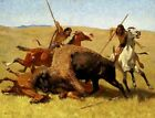 Fine Art Print on Canvas The Buffalo Hunt Painting Frederic Remington Giclee SM