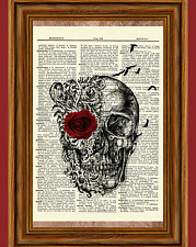 Gothic Skull Dictionary Art Print Picture Poster Red Rose Raven Poe Skeleton