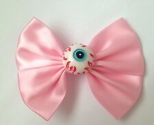 Pastel Goth Pink Eyeball Hair Bow Eye Ball Creepy Cute Gothic Halloween