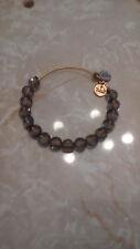Alex & Ani Smoke Gray Luxe Beaded Gold Bangle Bracelet