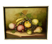 Vintage Still Life Fruit Oil Painting Canvas Framed Signed Emilian MCM 16 X 12