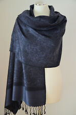 Pashmina Schal Stola Paisley 55% Polyacryl&45% Viskose Schwarz Grau ca.180x70cm
