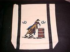 WESTERN COWGIRL TOTE BAG  BARREL RACER ON HORSE CAN CHASER   NEW!
