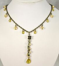 Yellow Dangling Lariat Faux Pearls Gold Tone Fancy Chain Necklace Choker   #141