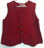 Vintage Orvis Womens Large Red Shetland Wool Vest Top Sweater Button
