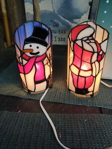 Gorgeous SNOWMAN & SANTA Tiffany Style Stained Glass Accent Lamp Up-Lights