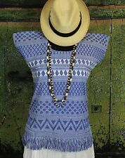 Blue & White Hand Woven Huipil Backstrap loom San Juan Yaeé Mexico Hippie Boho