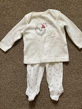 0-3 Months Winnie The Pooh Pyjamas White Unisex Boy Girl Cute George Used