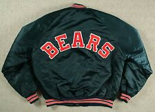 VTG 80s CHALK LINE CHICAGO BEARS BLUE NYLON SATIN NFL BOMBER JACKET LARGE