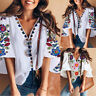 8-24 Womens Printed Floral Shirt Ladies Bell Sleeve V Neck Casual Top Tee Blouse