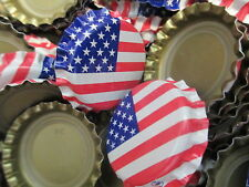 100 Uncrimped American Flag Home Brew Beer Crown-caps, Free Shipping