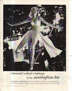 1961 I Dreamed I walked a tightrope in my Maidenform Bra Original ad
