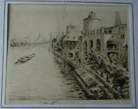 ANDRE DAUCHEZ RARE EAU FORTE PARIS  SEINE PAVILLONS EXPOSITION UNIVERSELLE 1900