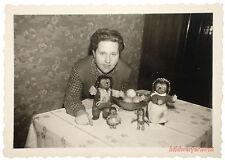 Vecchia fotografia 1955 – Donna con ORIG. famiglia Steiff, Mecki sterco, GIOCATTOLI BAMBOLE