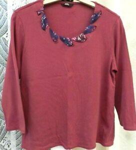 ( Ref 2090 ) Marks & Spencer - Size 14 - Purple/Grape 3/4 Sleeve Round Neck Top