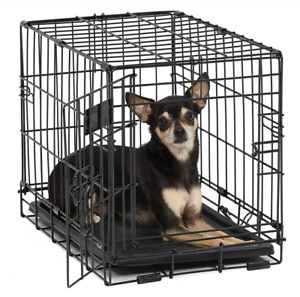 Dog Crate | iCrate Single Door Folding Metal Crates w/Pan for Easy Cleanup