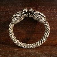 Rare Collectible Chinese Antique Tibet Silver Auspicious Dragon Bracelet