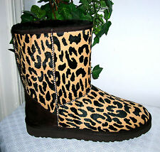UGG Australia Classic Leopard Leather Animal Print Boots Women Shoes Sz 8 new