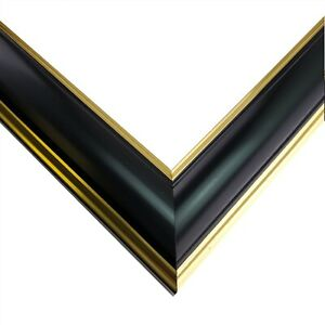 """US ART Frames 1"""" Thin Shiny Black Gold Lip Wood Wall Décor Picture Poster Frame"""