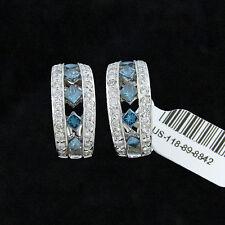 NYJEWEL Sophia Fiori Amazing 14K W Gold 3ct Blue & White Diamond Earring