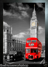 BLACK FRAMED LONDON RED BUS AND TAXI - 3D MOVING PICTURE 365mm X 465mm