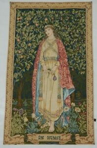 Vintage French Medieval The Orchard Tapestry Wall Hanging Panel 120X72cm