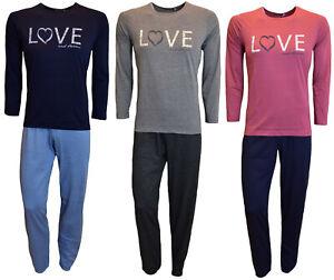 Damen Schlafanzug Pyjama, Baumwolle, 3 Farben, mit Motivdruck, Größen S - XL