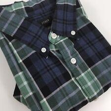 J CREW Mens SIze L Button Front Shirt Blue Green Plaid Long Sleeve Black Label