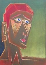 "Milionis ""RED BOY"" Signed Pastel Pencil Drawing Canson® Paper Greek Painter 1994"