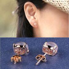 Pink lotus stone Opal Bright  Rhinestone Ear Stud Rose Gold Plated  Earrings