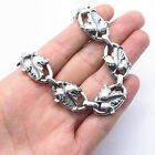 """Rare Antique Victorian Silver-Tone Handcrafted Maple Leaf Chain Necklace 12"""""""