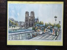 """Water Color G. DUCOLLET PARIS NOTRE DAME in 20 3/4"""" x 16 3/4"""" frame with glass"""