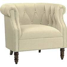 Beige Tufted Accent Chair English Living Room Wood Furniture Rolled Arm Club Sea