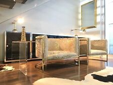 Brass Arm Chairs Low Profile Lounge Chair Acid Wash Gold Brazilian Cowhide PAIR