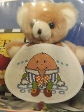 Adorable Vtg New Mother Goose Humpty Dumpty Baby Bib Counted Cross Stitch Kit
