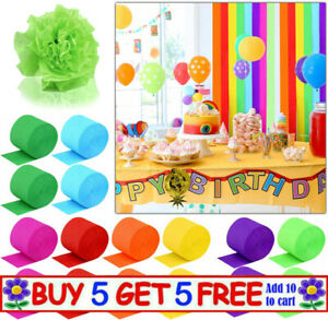 82FT Crepe Paper Party Streamers Roll Birthday Wedding Hanging DIY Decoration UK