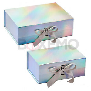 Gift Box With Ribbon - Holographic Box - Two Sizes - Magnetic Box - Large Box