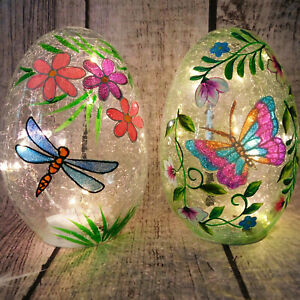 Light Up Crackle Spring Egg Lamp Glass Display Easter Egg Hunt Party Decoration