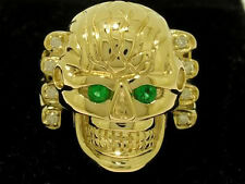 MR040 HEAVY 9ct SOLID Gold REAL Natural Emerald & Diamond Skull Ring size T 9.75