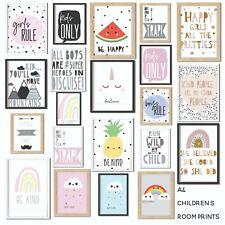 Kids Children's Bedroom Prints Wall Art Quotes Scandi Decor Modern Boys Girls A4