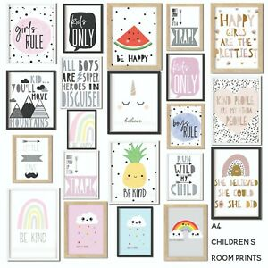 Kids Children's Bedroom Prints Wall Art Quotes Scandi Decor Modern Boys Girls A4