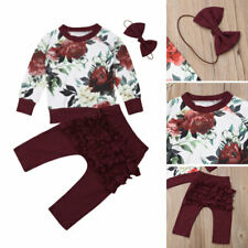 Newborn Infant Baby Girl Long Sleeve Tops Long Pants Headband Outfit Set Clothes