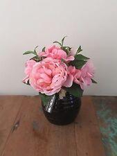 Artificial Fake Silk Flower Pink Peony Hydrangea W Black Ceramic Pot 22cm H