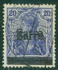 SAAR : 1920. Michel #8DD Very clear Double Overprint. VF, Used. RARE. Cat €1,200