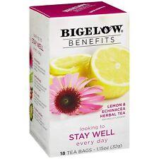 TEA BIGELOW BENEFITS STAY WELL, LEMON ECHINACEA (18 bags x 5 box) CAFFEINE FREE