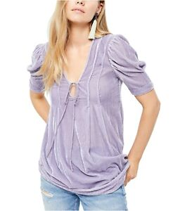 Free People Womens Purple Adelle Velvet Fog V Neck Pleated Tunic Top Size XS