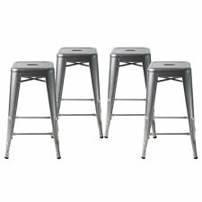 Set of Four Gray 24 Inches Counter High Metal Bar Stools, Indoor/Outdoor