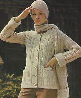 """Ladies Aran Jacket, Hat and Scarf Knitting Pattern DK 33-39"""" 707"""